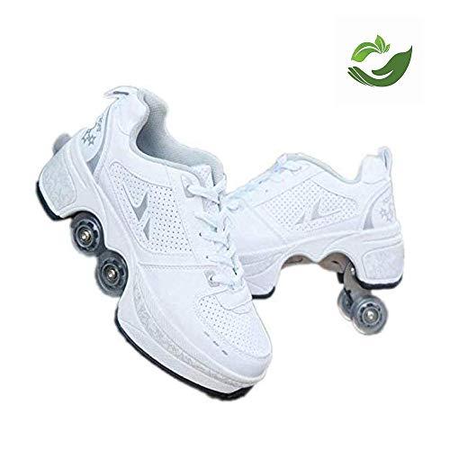 FLY FLU Skates Pulley Schuhe , Multifunktionale Verformung Rollschuhlaufen Quad Skating Outdoor Sport - Für Erwachsene Kind,White-39
