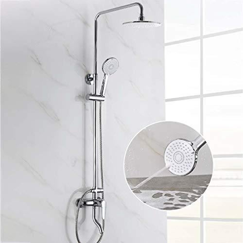YDYG douchesysteem, aan de muur gemonteerde ronde chroom badkamer douche mixer met regenval douchekop, spuitpistool handheld douche, Wall Rail, waterbesparend, schalen bescherming
