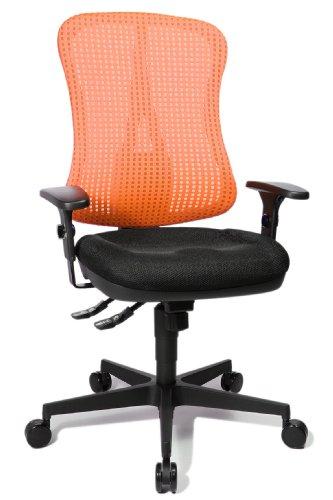"""Topstar HE20PBC01 Head Point SY \""""P4\"""", ergonomischer Bürostuhl, Schreibtischstuhl, Muldensitz, inkl. Armlehnen, Netzrücken, Stoffbezug schwarz / rot"""