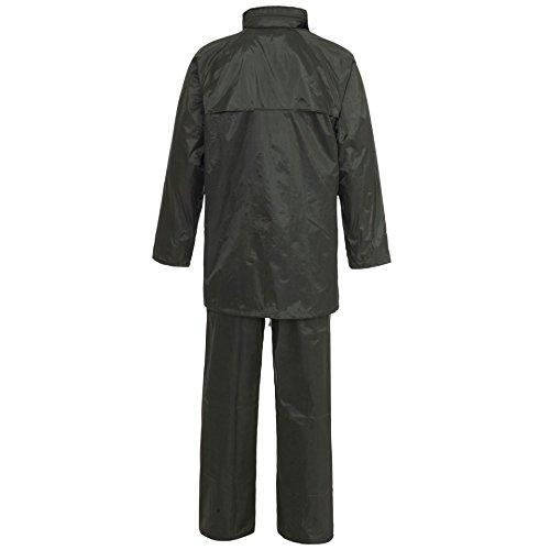 Hi Vis Viz & Plain Rainsuit Chaqueta Pantalones de Alta Visibilidad Impermeable con Capucha Traje de Lluvia de 2 Piezas