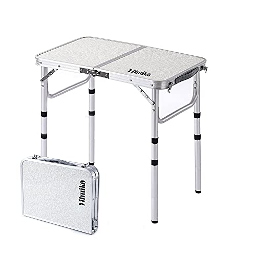 """YihuiKo Little Folding Camping Table Portable Adjustable 3 Heights Lightweight Aluminum Folding Table for Outdoor Camp Picnic,24""""x 16"""" 3 Heights"""