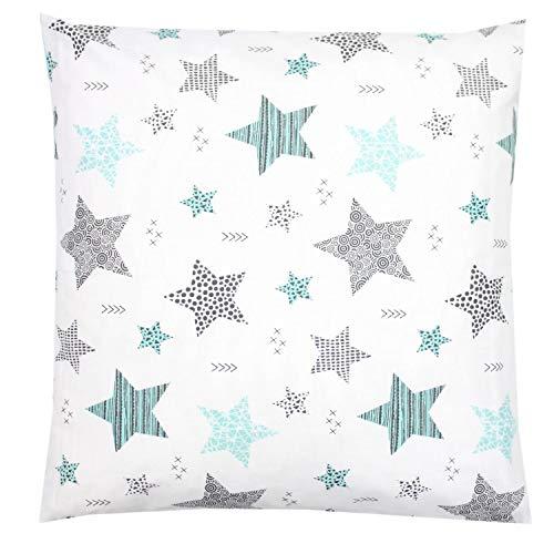 TupTam Funda para Cojin con Diseño Decorativo para Niños, Estrellas Menta Verde/Negro, 50 x 50 cm