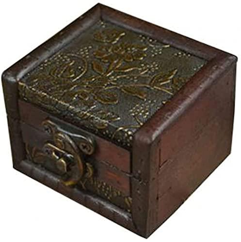 SYCK Caja de Almacenamiento de Joyas Pequeño Soporte de joyería de Bloqueo de Madera Caja de pantalla-68x43x52mm