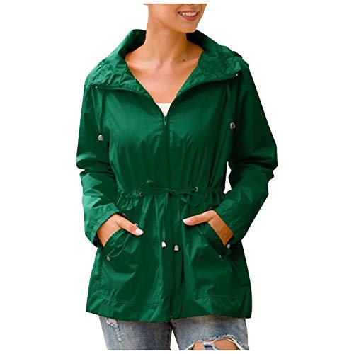 zhanxin Women Hooded Waterproof Zipper Mid-Length Hiking Jackets Windproof Waterproof Raincoat Jacket Outdoor Hiking Coats Green
