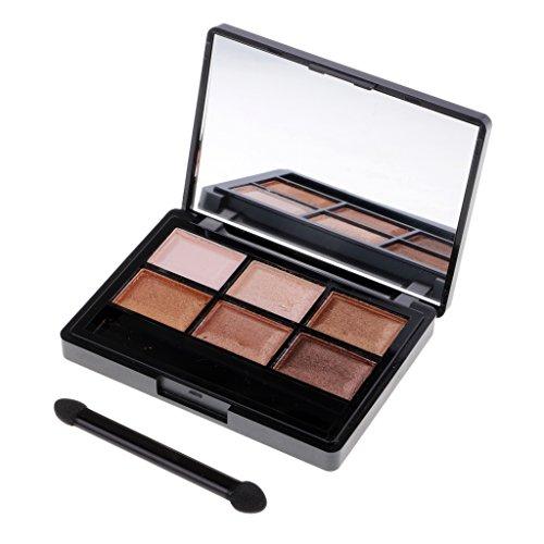 Homyl 6 Couleurs Palette de Fard à Paupière Waterproof Durable Matte Shimmer Cosmétiques Eyeshadow Mode avec Eponge Brosse pour Maquillage Femme - 04# Couleur de la Terre