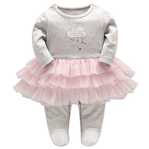Minizone Baby Mädchen Tütü Strampler Gestreift Spielanzug Langarm Overalls Schlafanzug Säugling Outfits, 9-12 Monate