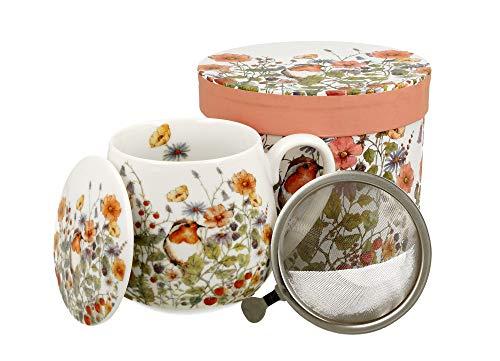 Tee-Tasse Teebecher Set mit Teesieb (Edelstahl) und Deckel Porzellan Teetasse bauchig mit Sieb Geschenk-Tasse Blumen 400 ml von DUO 3teilig in Geschenkbox Becher Kräuter-Teetasse (Rotkehlchen)