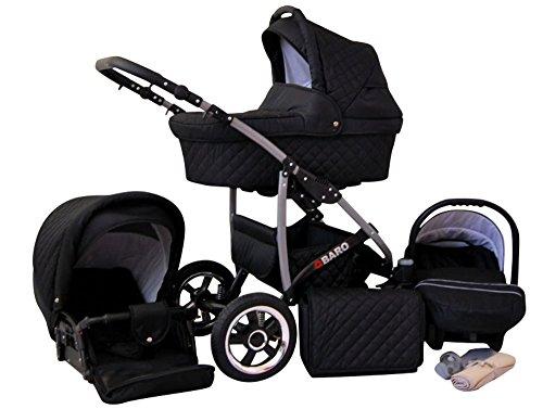 Lux4Kids Q Baro 3 in 1 Cochecito Combinado (asiento del coche incluye adaptadores, cubierta para la lluvia, mosquitero, ruedas giratorias 9 colores) 06 negro