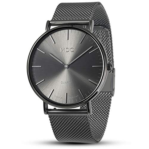 Mens Watches Minimalist Wrist Watch Black Watches for Men Deep Gray Analog Wristwatch Classic Mesh Stainless Steel by MDC