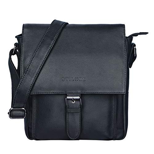 STILORD 'Nevio' Herrentasche Leder Umhängetasche kleine Messenger Bag Elegante Handtasche im Vintage Design Schultertasche für 10.1 Zoll Tablet iPad echtes Leder, Farbe:schwarz