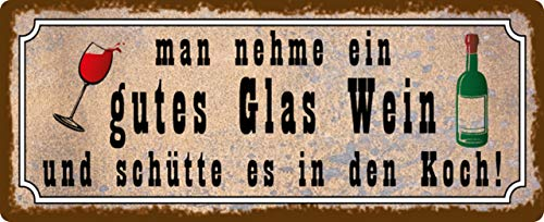 Generisch blikken bord 27x10cm Man Neem een glas wijn kok spreuk humor grappig geschenk decoratief bord