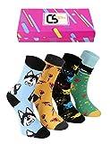 CREA SOCKS Socken für Damen & Herren, ausgefallene,4 Paar EU 36-40