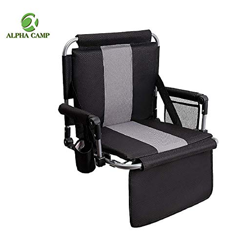 ALPHA CAMP Stadium Seat Chair for Bleachers with Back & Arm Rest (Black Grey)