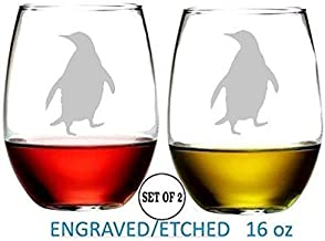 Penguin Stemless Wine Glasses Etched Engraved Perfect Fun Handmade Gifts for Everyone Dishwasher Safe Set of 2