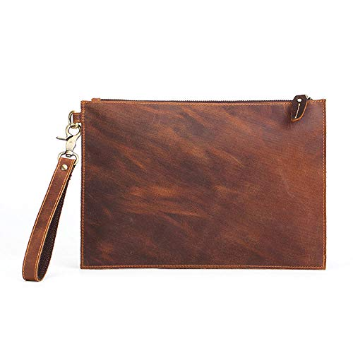 Crazy horse leather men's clutch bag first layer clutch envelope zipper leather men's bag-brown_31*30.5cm