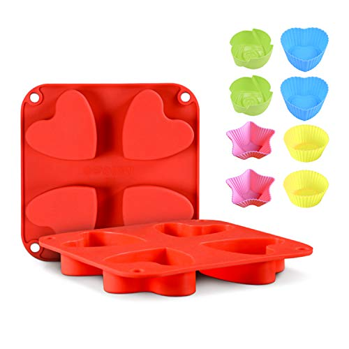 Silicone Heart Mold 2 PCS Heart Shaped Cake Pans with 8 PCS Baking Cups,Muffin Cupcake Mold Tray for Jelly Pudding Jello 4 Cavity