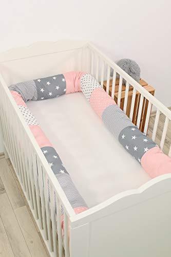 Baby Nestschlange | Made in EU | ÖkoTex 100 | Schadstoffgeprüft | Antiallergisch | Baby Bettumrandung | Bettschlange | Rosa Grau | 300 x 13 cm | ULLENBOOM ®