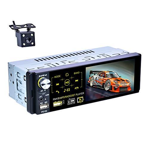X-REAKO Radio Coche Bluetooth Manos Libres radio 1 din para coche 4.1 Pulgadas Pantalla táctil capacitiva Reproductor Multimedia Radio AM/FM/RDS Cámara de visión Trasera