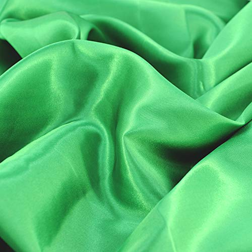 """Satin Fabric Green Color for Wedding Dress Decoration DIY Crafts 60"""" by 1 Yard"""