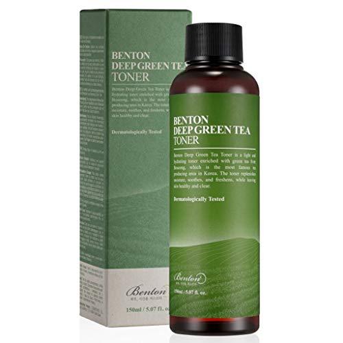 BENTON Deep Green Tea Toner 150 (5.07 fl. Oz.) - Tonico viso nutriente e idratante per pelli grasse e sensibili, pelle lenitiva e purificante
