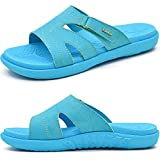 KuaiLu Chanclas Mujer Moda Ortopedicas Comodas Soporte del Arco Chancletas Baño Verano Cool Playa Piscina Ligera Abierta Velcro Sandalias Antideslizante Goma Suela Azul 37
