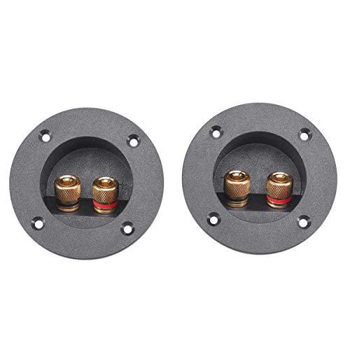 Foxnovo 2pcs auto hogar bricolaje caja de altavoces de 2 vías estéreo Terminal vinculante poste redondo Spring Cup conectores tapones de Subwoofer (Negro)