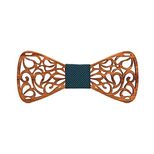 Lvguang Corbata de Lazo Madera para Hombre Exquisita del Diseño Hueco para la Boda o el Desgaste Diario