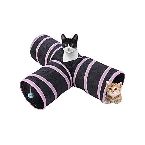 Túnel para mascotas, juguete plegable de 4 pies y 3 vías para el túnel del túnel del gato