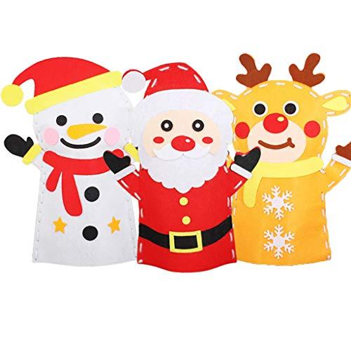 Marionetas animales 3pcs Santa Claus títere de mano Haciendo Kit Nursery & Inicio de bricolaje kits de costura Craft Decoración for Niños Juegos de rol regalos de cumpleaños de las muchachas de Navida