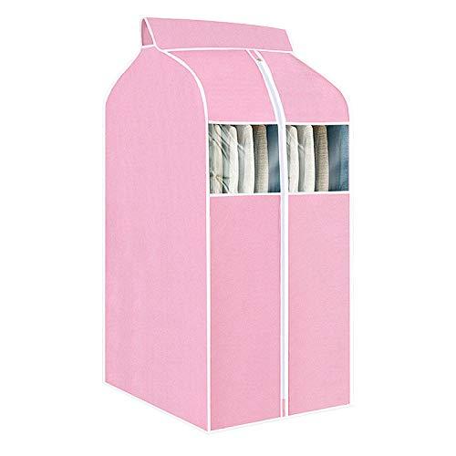 Mofeng Kleiderhülle für Kleiderschrank, Aufbewahrungstasche zum Aufhängen, Kleidersack mit transparenten PVC-Fenstern, staubdicht, für Mäntel, Anzüge und Jacken, Schutz (Pink, 60 x 48 x 120 cm)