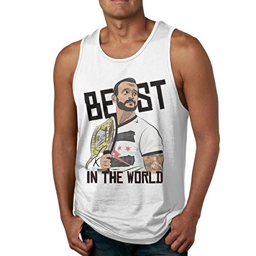 DABSON cm Punk Best in The World Men's Tank Top Shirt XL White
