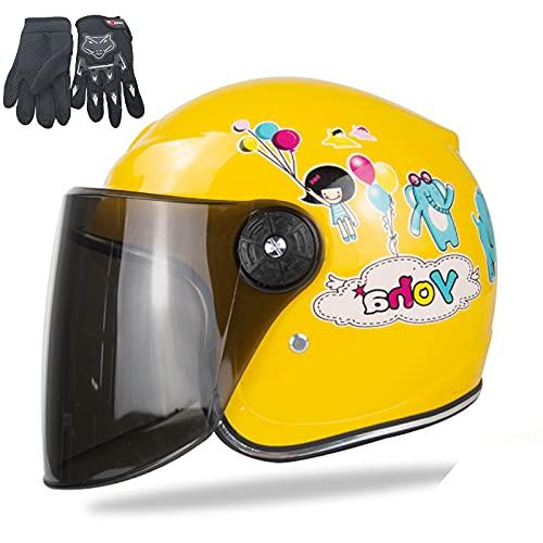 QZH Casco de Moto Infantil, Casco de Bicicletas para niños, Casco Scooter con Guante de Motocicleta Childs Casquillo de Seguridad de Dibujos Animados de Peso Ligero para 3-8 años niña,Amarillo