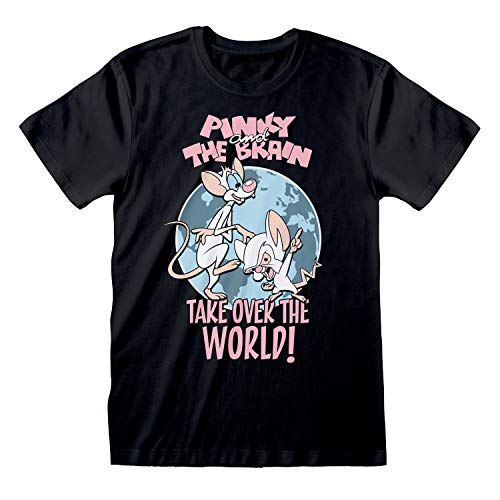 Popgear Animaniacs Pinky and The Brain Take Over The World Novio Ajuste De La Camiseta De Las Mujeres| mercancía Oficial