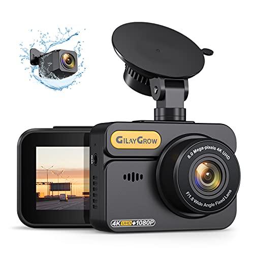 GILAYGROW 4K Dashcam vorne und hinten integriertes GPS vorne 4K/2.5K und hinten 1080P Dual Dash Kamera für Autos 5,1 cm IPS 170° Weitwinkel Armaturenbrettkamera, Nachtsicht, WDR, Parkmonitor, Unterstützung 256GB Max
