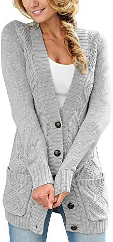 luvamia Womens Light Grey Casual Long Sleeve Open Front Buttons Cable Knit Pocket Sweater Cardigan product image