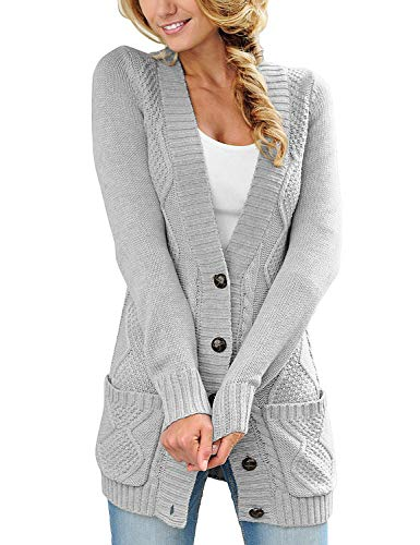 luvamia Womens Light Grey Casual Long Sleeve Open Front Buttons Cable Knit Pocket Sweater Cardigan Outwear Size L(US 12-14)