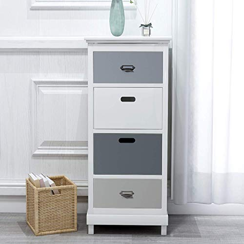 MXL High chest of drawers with 4 drawers Large solid wood cabinet Bedside table for corridor bedroom Bathroom Living room Wooden cabinet Large capacity bedroom cabinet in white gray