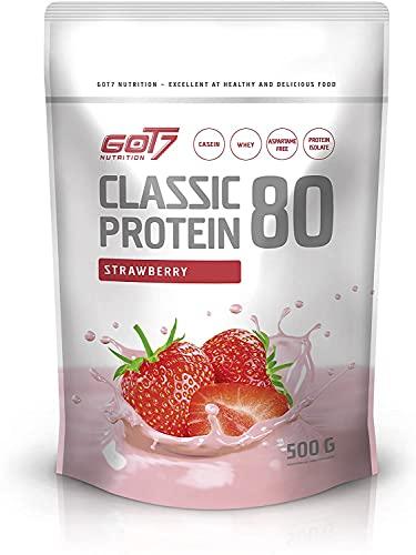 GOT7 CLASSIC PROTEIN 80 - Batido de proteína de suero de leche Proteína de suero para la construcción de músculo Entrenamiento con pesas Culturismo - 500 g (Strawberry-Fresa)