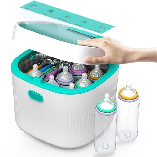 UV Sterilizer 4-in-1 for Baby Pacifiers Bottles Spoon Toys, Large 8L Touch-Control UVC LED Light Sanitizer Box with Dryer & Air Ventilation Filter System for Cleaning Cards, Cellphones, Keys and More