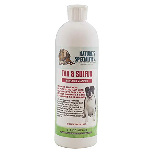 Nature's Specialties Tar & Sulfur with Aloe Shampoo for Dogs Cats, Non-Toxic Biodegradeable, 16oz