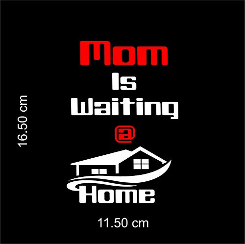 ISEE 360® Mom is Waiting at Home Bike Stickers for Scooter Fascino and Activa and Royal Enfield Classic 350 500 Standard Suitable for Tank Side Meeter White, Red,L x H (16.50Cm x 11.50 cm)