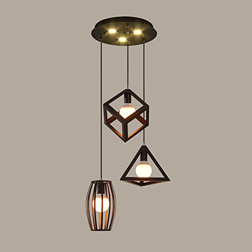 Nordic Triple Tête LED Lustres Américain Fer Salon Chambre Plafond Rétro Restaurant Café Bar Lustres (Design : B)