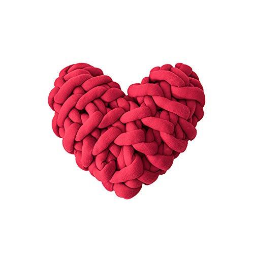 Avalita Almohada de nudo de felpa suave, hecha a mano, cojín de nudo en forma de corazón, color macarón, cojín de coche, decoración del hogar, juguete de peluche para fotografía