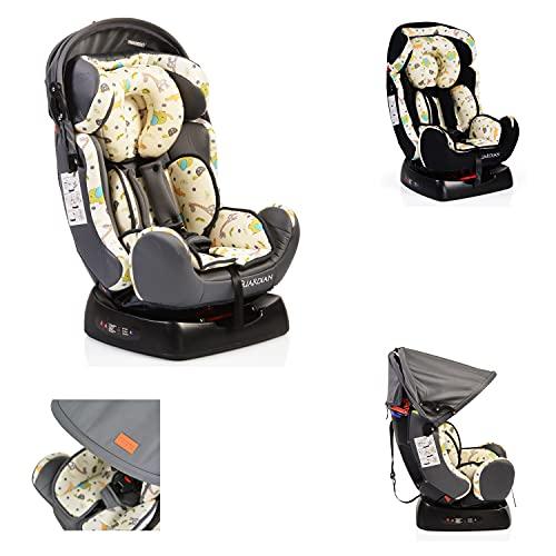 Kindersitz Guardian Gruppe 0/1/2 (0-25 kg) mit Kopfpolster von 0 bis 7 Jahre grau