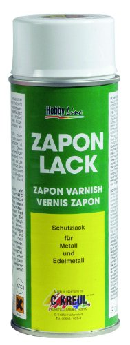 Kreul 840150 - Zapon Lack, 150 ml Spraydose, wasserheller Nitro Kombilack, Schutzfilm für Metallflächen, die das Mattwerden, Verfärbungen und Korrosion verhindert, für Innen und Außen geeignet