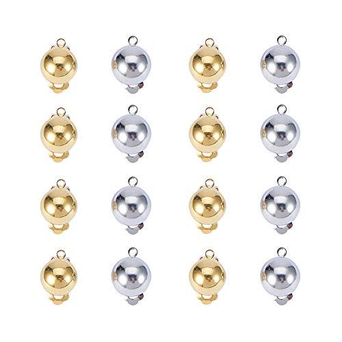 PandaHall Elite 40pcs Componenti per Orecchini in Ottone Clip per l'orecchio, per Orecchie Non perforate, Colore Argento e Oro, Circa 20x13x11mm, Foro: 3 mm, 20pcs/Color