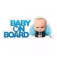 Auto-Aufkleber Baby On Board - Motiv: Baby Boy als Chef in schwarzem Anzug mit Krawatte Hält auf allen glatten Oberflächen am KFZ wie Karosserie und Fenstern / Scheiben. Für das Auto der Eltern mit Babys, Neugeborenen und Kleinkindern, aber auch für ...