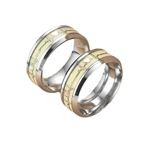 Ouken 8mm Silber leuchtender Herzschlag Ring Edelstahl Farbe wechselnde Stimmung Ring Heartbeat Muster Design