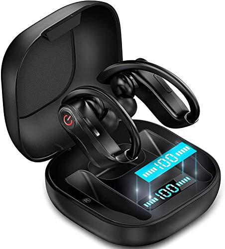 Bradoner Inalámbrico Auriculares, Bluetooth 5.0 Auriculares TWS Auriculares Micrófono Incorporado En Ear Headset Correr con Carga Codos Caso Compatible con iOS Y Android