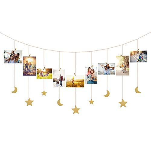 IMIKEYA Hanging Photo Display Wood Stars Moons Garland with Chains Picture Frame Collage with 30 Wood Clips Wall Art Decoration for Home Office Nursery Dorm Room Display